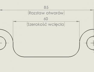 SolidWorks - Rysunek - Tekst po obu stronach linii wymiaru
