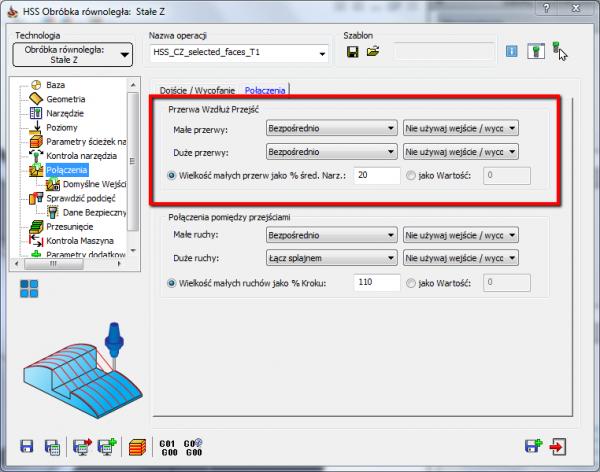 W poprzednim artykule opisałem wejście i wyjścia narzędzia jakie możemy zastosować. Daje nam to dużą kontrolę nad tym jak narzędzie wejdzie i wyjdzie z materiału. W tym artykule opiszę połączenia ścieżki narzędzia podczas operacji HSS.   Przerwa Wzdłuż Przejść Podczas łączenia ścieżki narzędzia SolidCAM wykrywa przerwy w przejściach. W tej sekcji mamy możliwość ustawienia jak zachowa się narzędzie napotykając taką przerwę. SolidCAM pozwala na wybór jednej z wielu opcji łączenia ścieżki narzędzia w zależności od rozmiaru przerwy. Możemy zastosować ustawienia dla małych i dużych przerw. Wartości przerw mogą być ustawione jako % średnicy narzędzia lub wartość.  Poniższe opcje są dostępne: Bezpośrednio   Narzędzie przemieszcza się najkrótszą drogą do kolejnego miejsca, bez żadnego odjazdu. Ścieżka narzędzia podczas przerwy jest wygenerowana jako prosta linia, narzędzie porusza się posuwem roboczym.  Łamanie posuwem roboczym   Kiedy przerwa zostanie napotkana, narzędzie wycofuje się na odległość bezpieczną i porusza się bezpośrednio do odległości bezpiecznej kolejnego przejścia. Wszystkie ruchy wykonywane są posuwem roboczym.    Obszar bezpieczeństwa   Kiedy przerwa zostanie wykryta, ruch pomiędzy ścieżkami narzędzie będzie odbywał się na wysokości obszaru bezpieczeństwa. Wszystkie ruchy powyżej odległości bezpiecznej wykonywane będą ruchami szybkimi, a poniżej tej odległości posuwem roboczym.  Jak powierzchnie   Podczas przerwy narzędzie podąża wzdłuż geometrii krzywej prowadzącej. SolidCAM stara utrzymać się styczność pomiędzy segmentami przejść, ale jeżeli nie jest to możliwe, przejście podczas przerw będzie styczne tylko do jednego segmentu.      Łącz splajnem   SolidCAM połączy oba ścieżkę narzędzia splajnem stycznym do obu segmentów.  Łamanie z posuwem roboczym i szybkim   Kiedy wykryta zostanie przerwa, narzędzie wykona wycofanie na odległość wycofania. Z tego punktu do odległości wycofania kolejnego segmentu narzędzie przemieści się bezpośrednio. Ruchy powyżej od