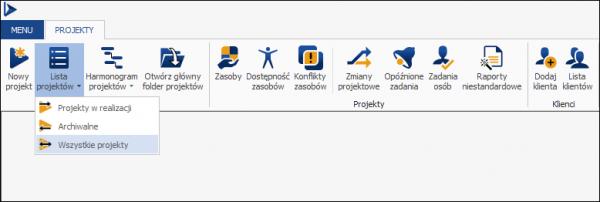 Podział listy projektów