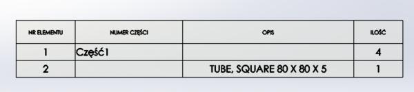 BOM lista materiałów LM solidworks tabela