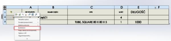 solidworks równania tabela