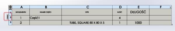 zmiana wyświetlenia tabeli bom lm lista meteriałów