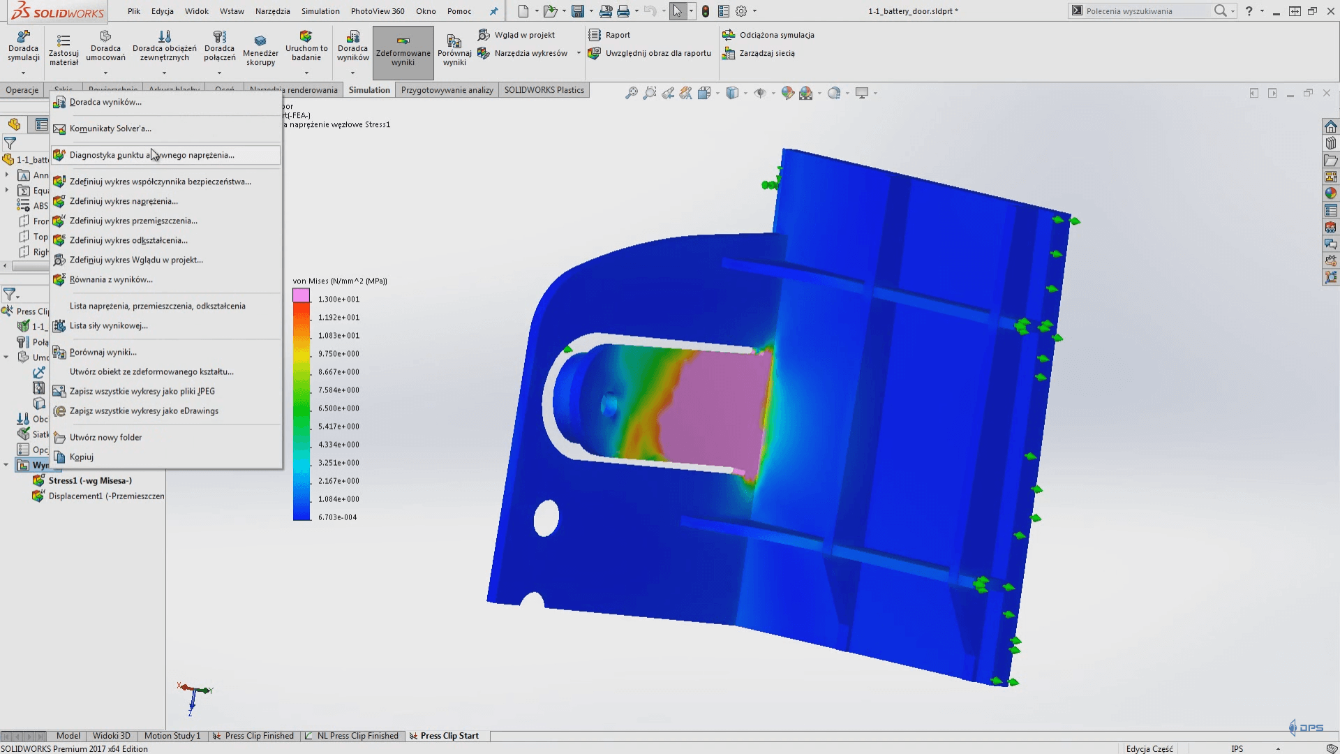 solidworks simulation 2017 wyniki