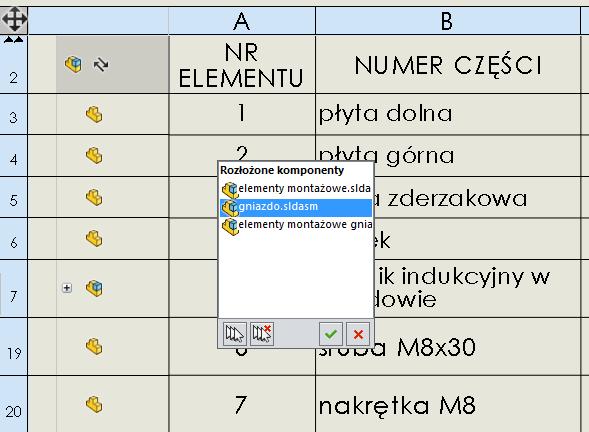 lista menu złożenia lista materiałów