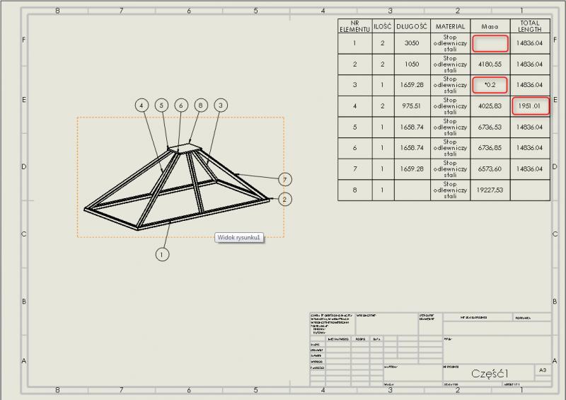 tabela listy elementów konstrukcji-spawanej solidworks błędy