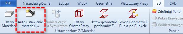 alphacam ikona auto ustawienie materiału