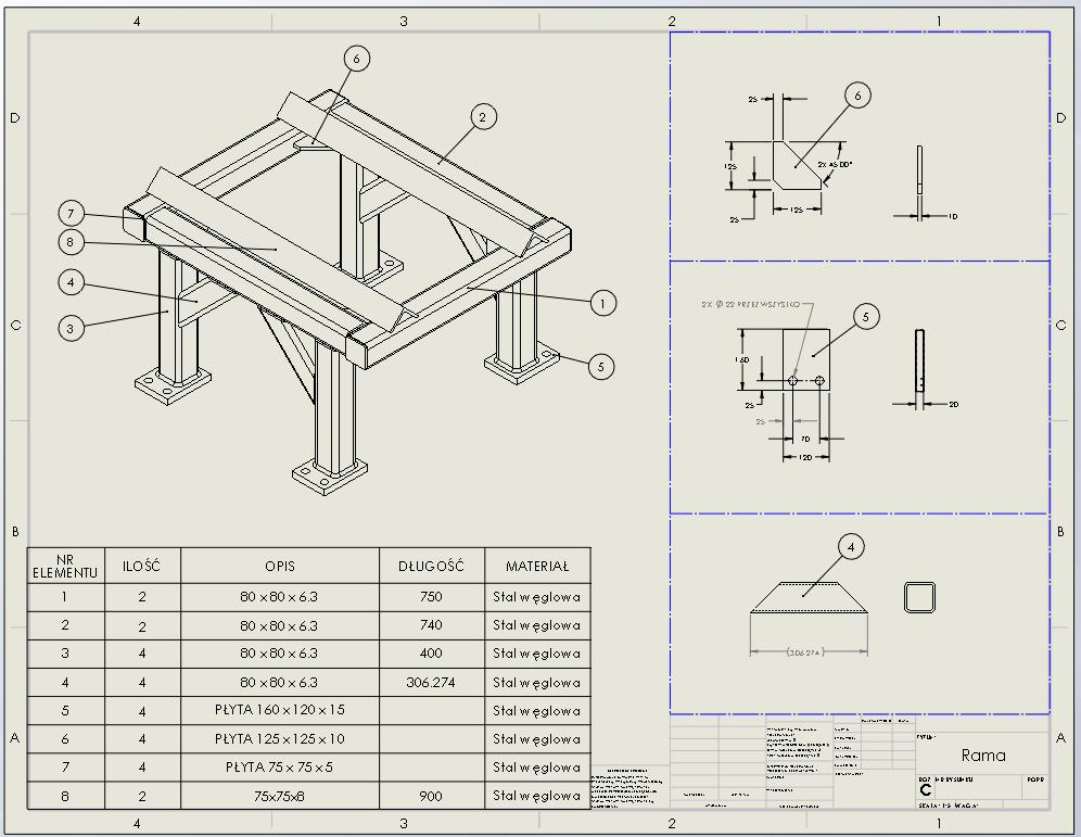 Rysunek ramy wykonanej przy użyciu modułu Konstrukcji Spawanych