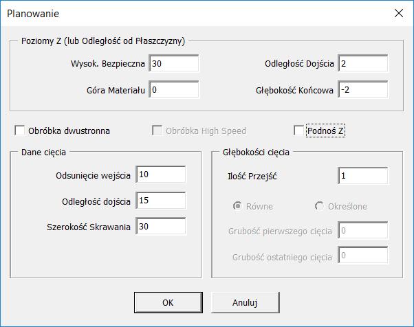 okno parametrów alphacam
