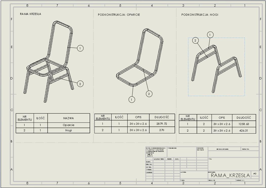 podkonstrukcje spawane dokumentacja rysunek techniczny