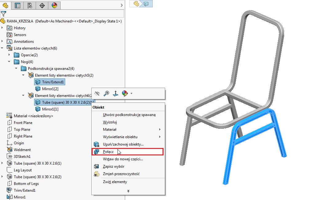 solidworks operacja narzędzie funkcja połącz scalenie