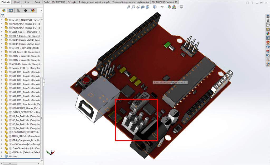 dodawanie części mechanicznych solidworks pcb