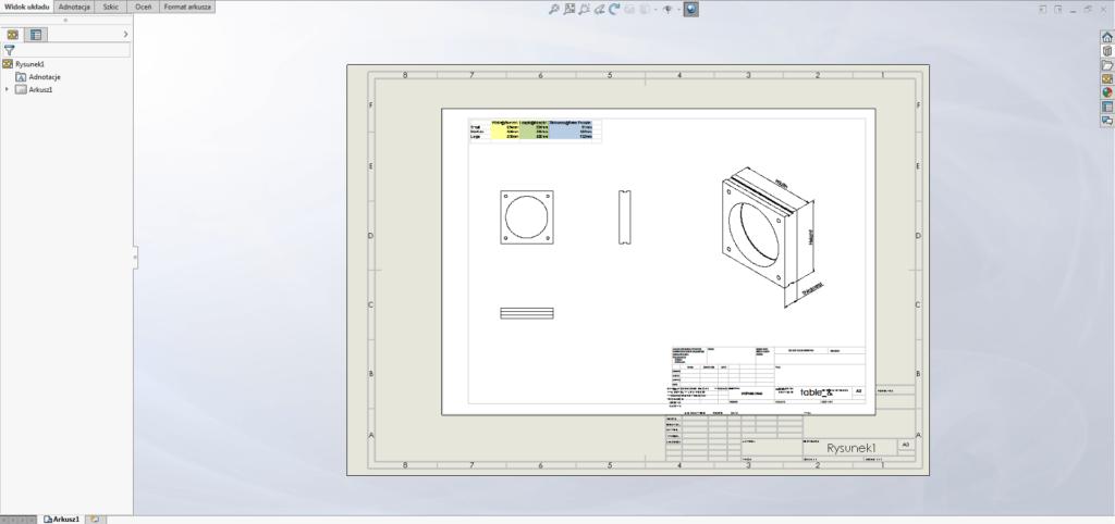 solidworks pdf dokumentacja format arkusza
