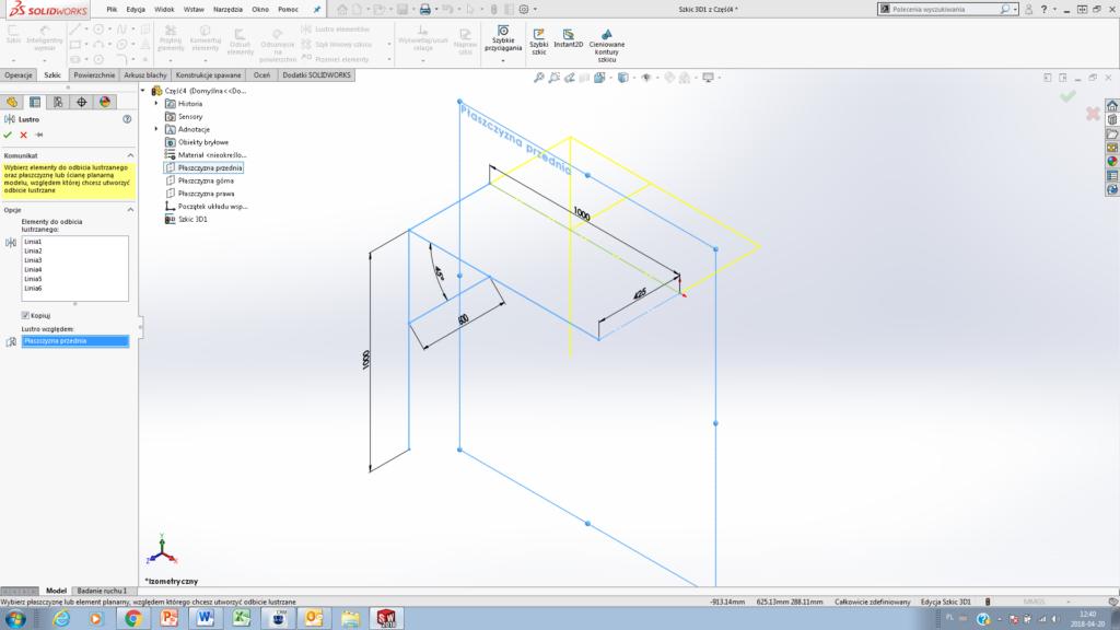 jak zrobić szkic 3d w solidworks Lustro w szkicu 3D