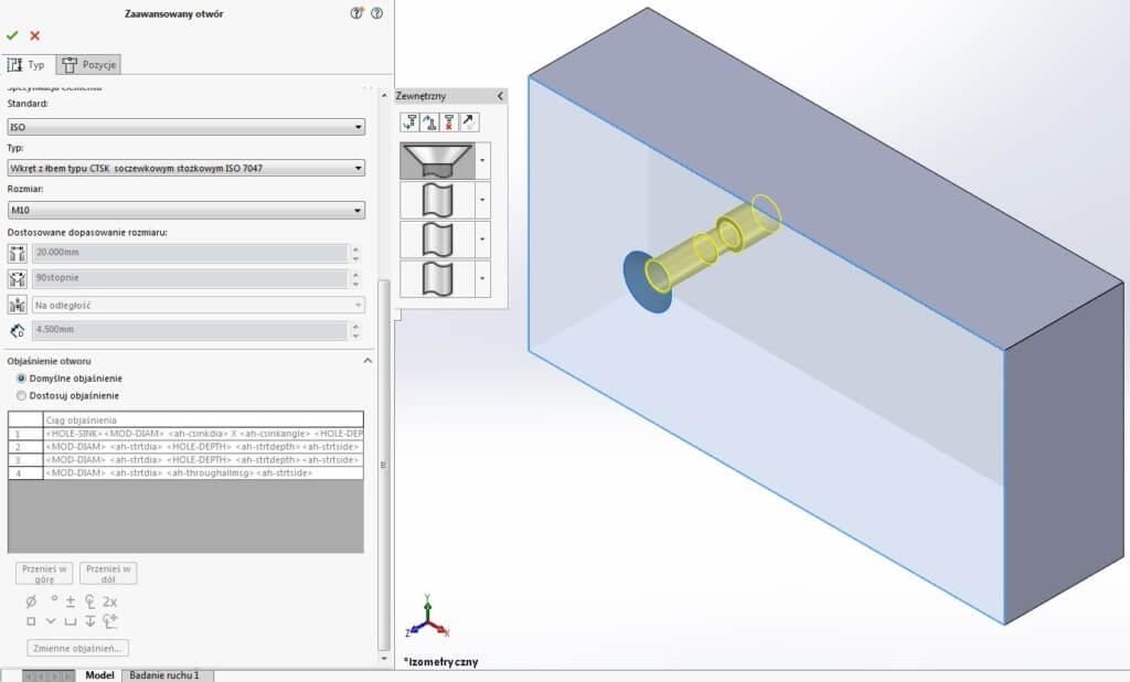 zaawansowany otwór typ solidworks standard rozmiar