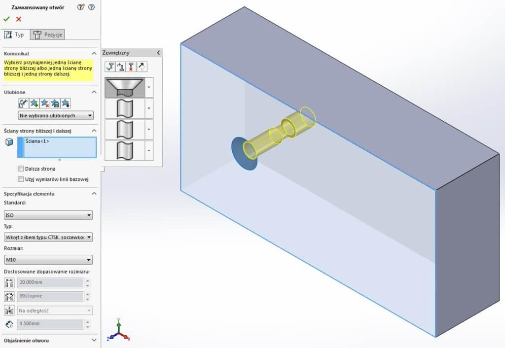 zaawansowany otwór typ solidworks