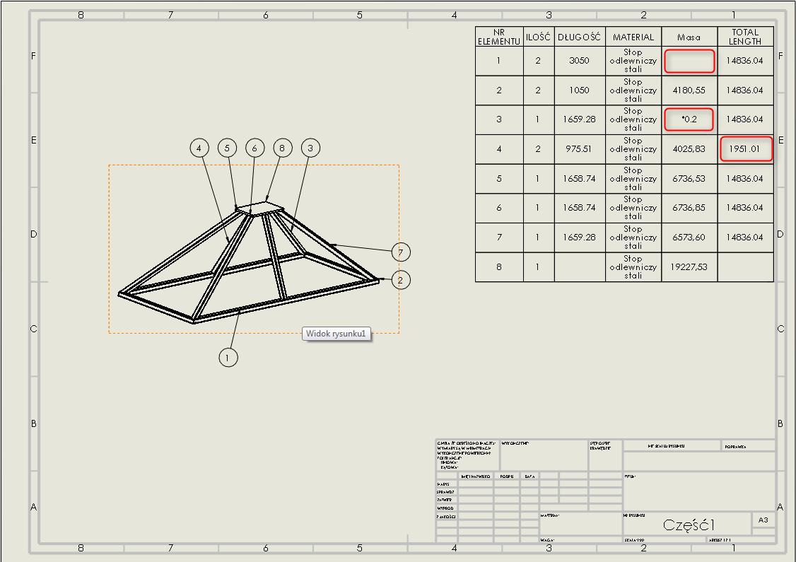 lista elementów ciętych konstrukcji spawanej solidworks