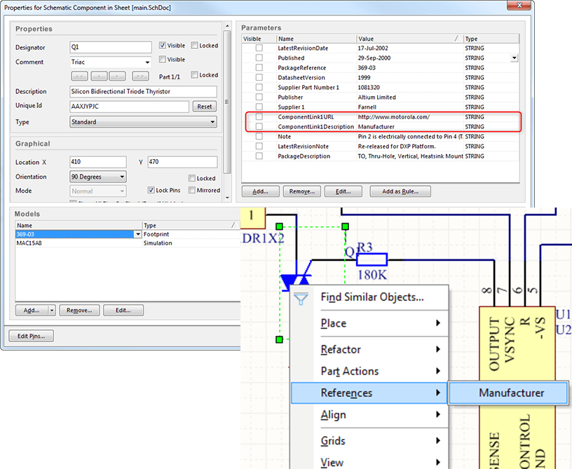 parametry komponentu solidworks pcb connections