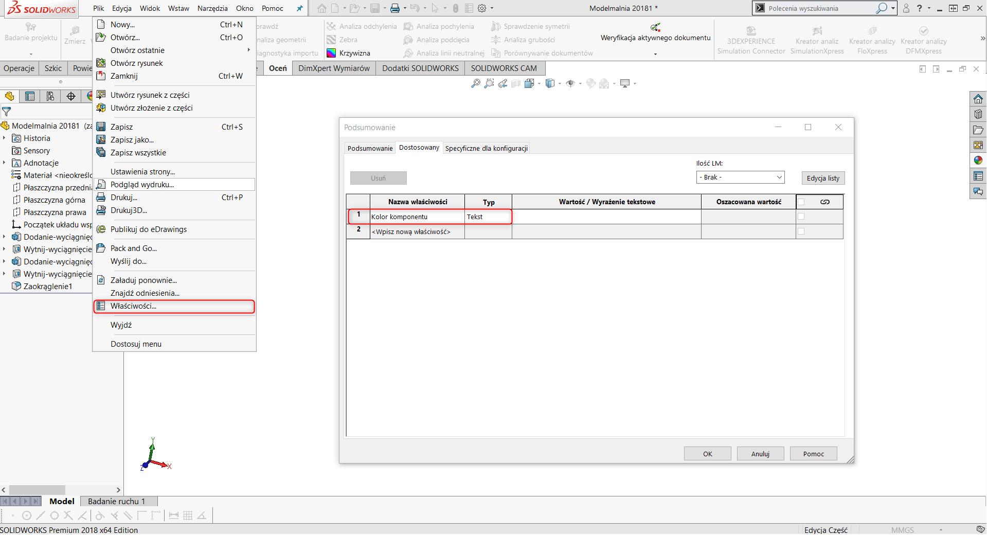 Okno SolidWorks z dostępem do właściwości pliku