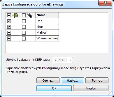 Opcje zapisu do pliku eDrawings