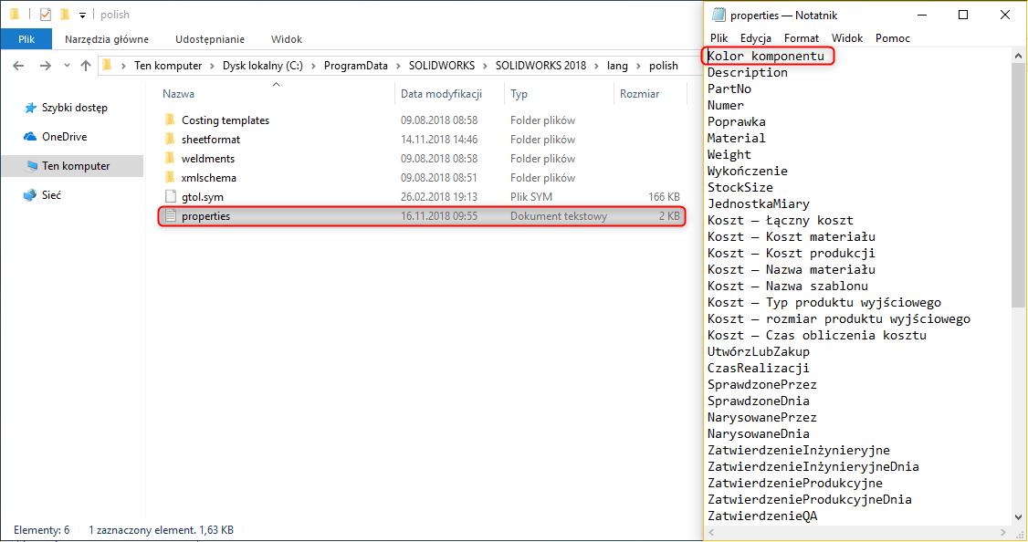 Dodanie właściwości w pliku properties.txt