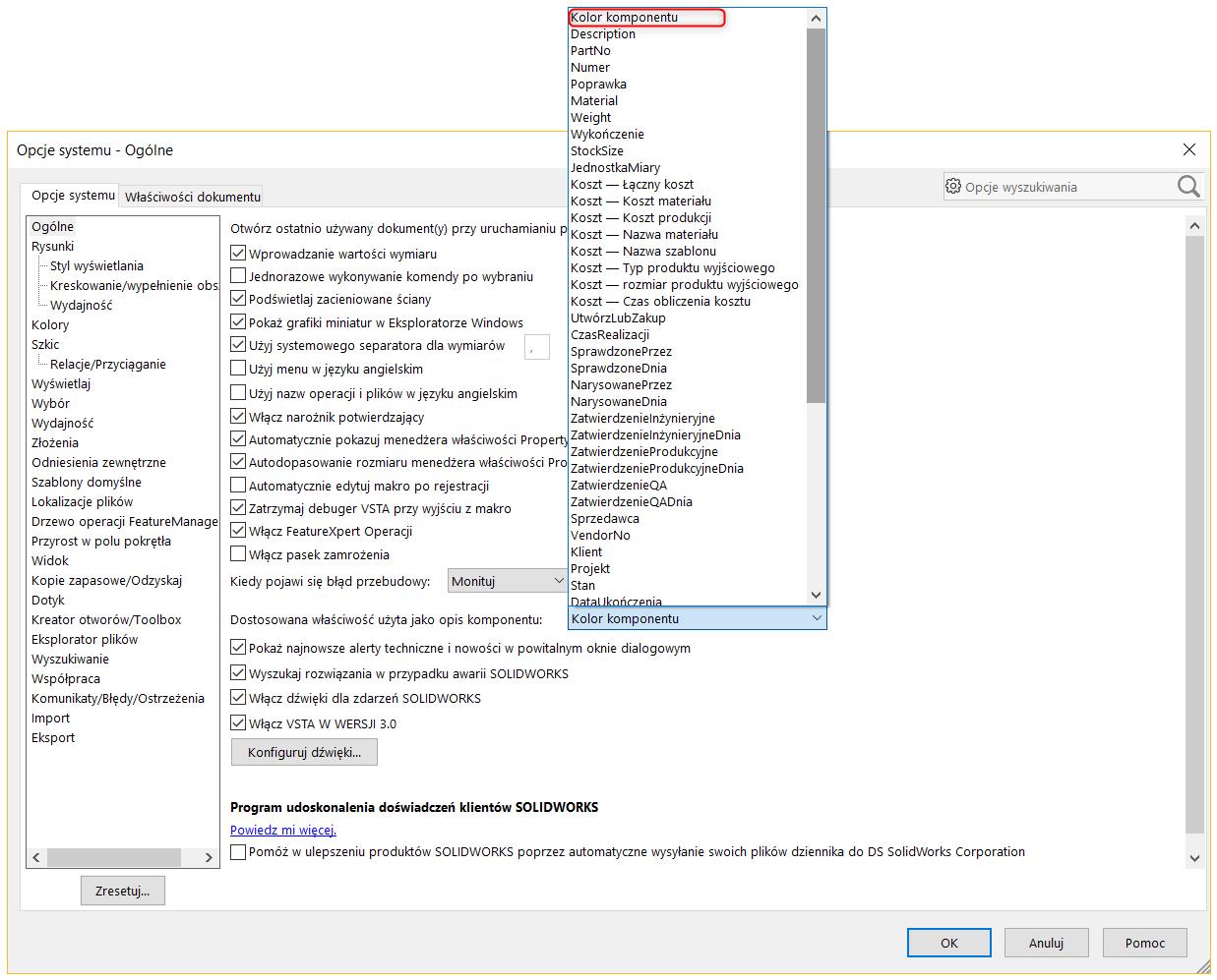 """Dodana właściwość do menu rozwijalnego w """"Opcjach"""""""
