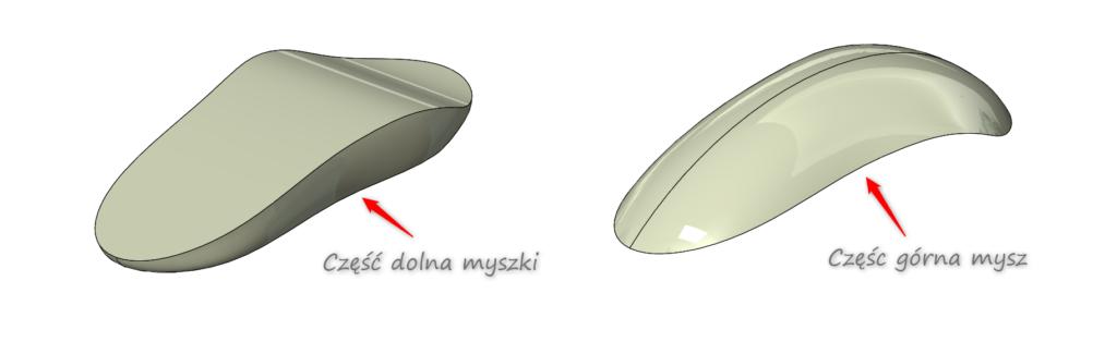 Prawidłowy podział myszki na część górną i dolną forma wtryskowa solidworks
