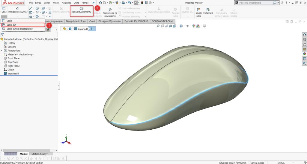 Tworzenie szkicu 3D i konwertowanie odpowiedniej krawędzi
