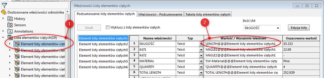 drzewo operacji feature manager solidworks lista elementów ciętych konstrukcje spawane