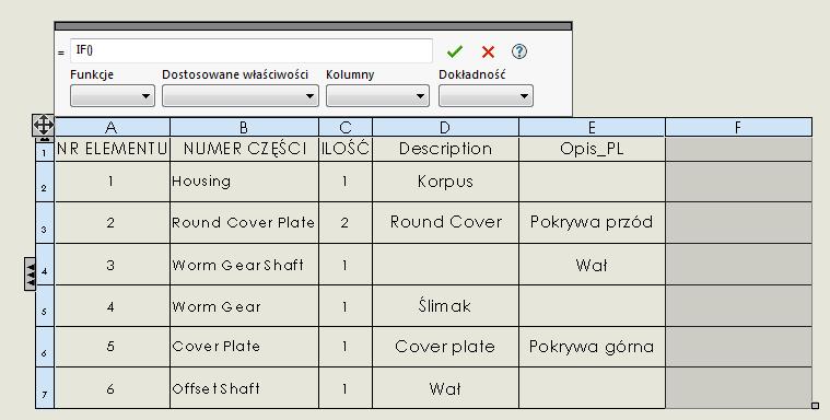 funkcja jeżeli solidworks lista materiałowa bom