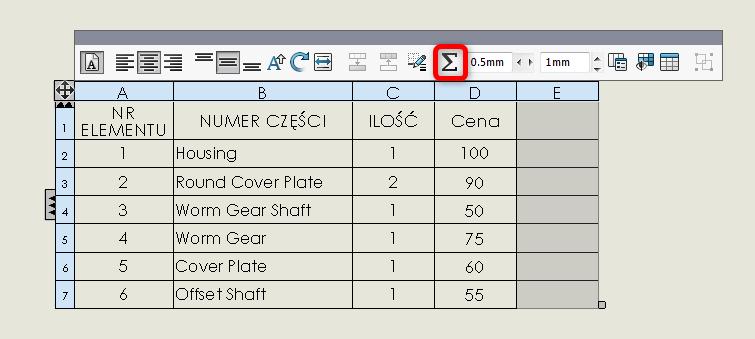 lista materiałów bom solidworks równania ilość cena