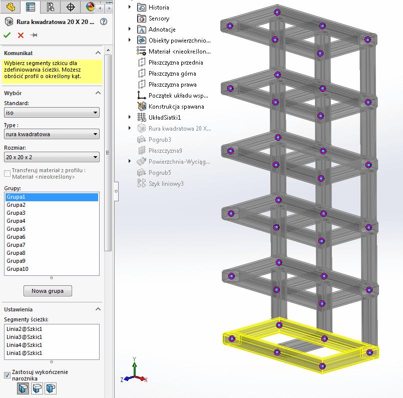 rura kwadratowa solidworks konstrukcja spawana konstrukcje spawane