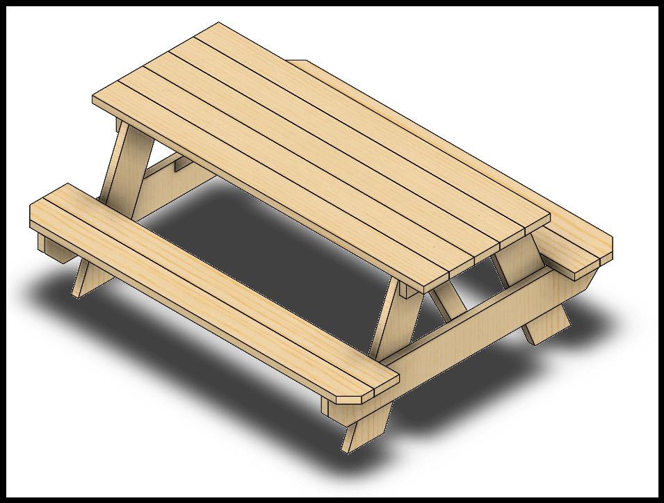 stolik drewniany solidworks piknikowy sw dpstoday