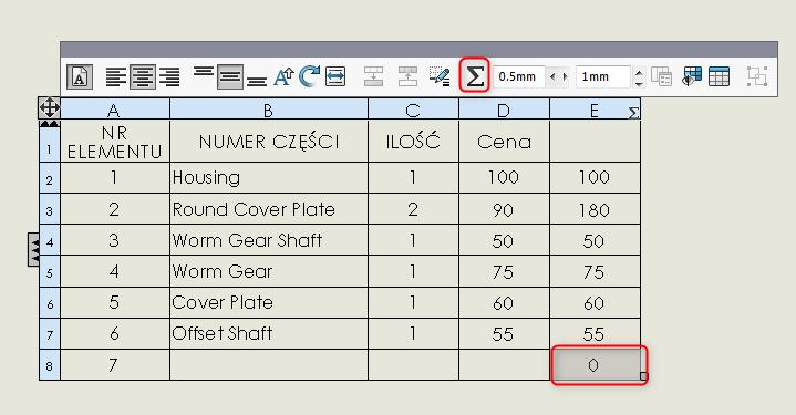 suma całkowita sumowanie lista materiałów solidworks bom