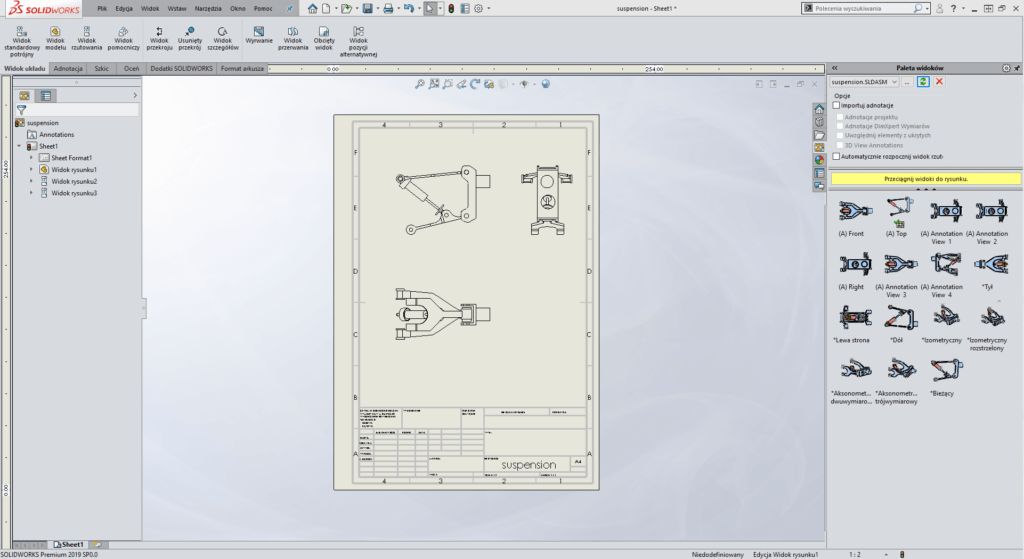 tworzenie rysunków widoków solidworks