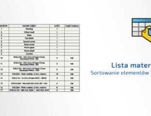 DPSToday Sortowanie elementów-Toolbox w liście materiałów BOM