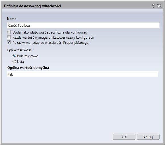 definicja dostosowanej właściwości toolbox solidwokrs