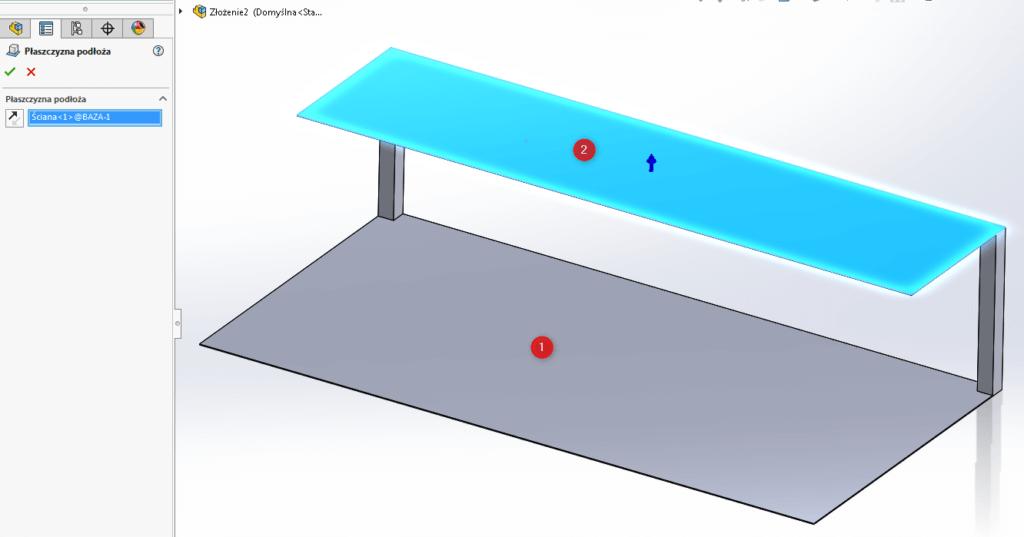 płaszczyzne podłoża solidworks złożenie złożenia