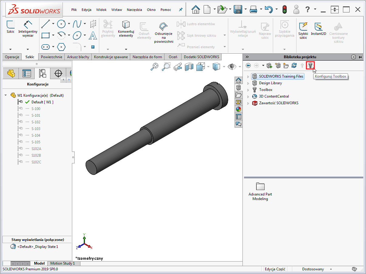 solidworks konfiguruj toolbox