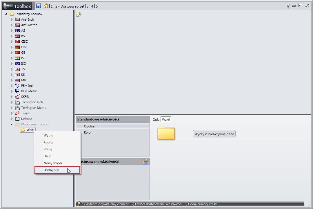 solidworks toolbox dodawanie komponentu