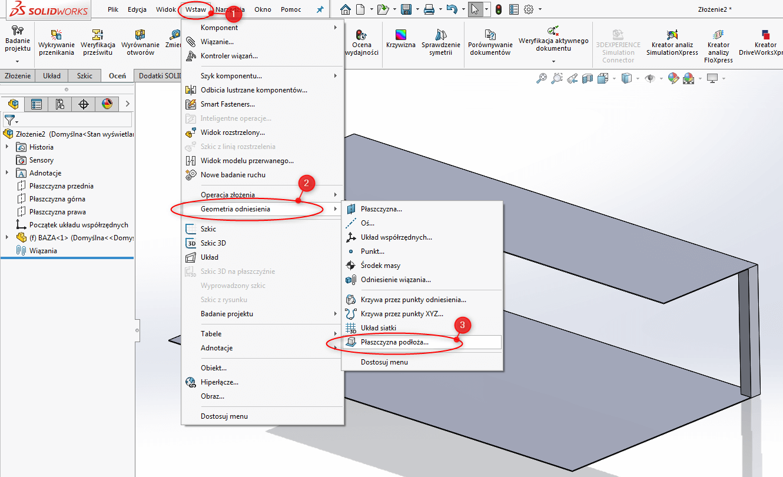 solidworks złożenie geometria odniesienia płaszczyzna podłoża