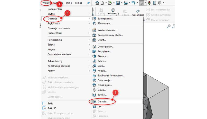 Operacja Gniazdo w SOLIDWORKS - projektowanie formy