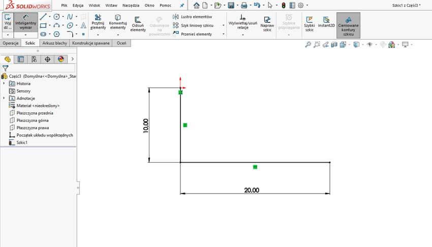 Ubytek materiału w tabeli zgięć - SOLIDWORKS