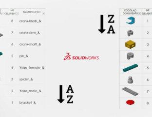 Eksport listy materiałowej SOLIDWORKS z miniaturami