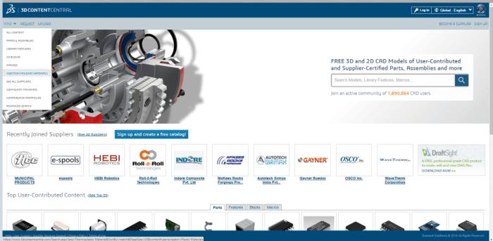 Baza Danych SOLIDWORKS Plastics - 3dContentCentral -DPS Software