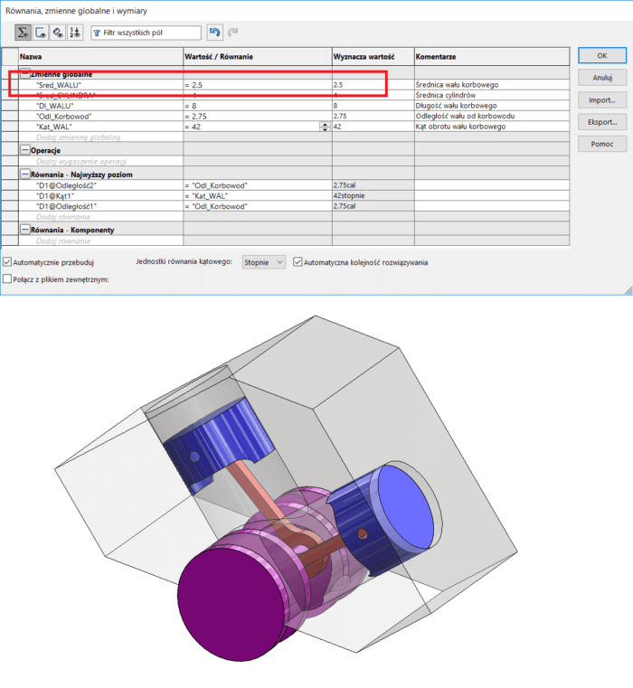 zmienne globalne w solidworks - dpstoday - blog solidworks - dps software