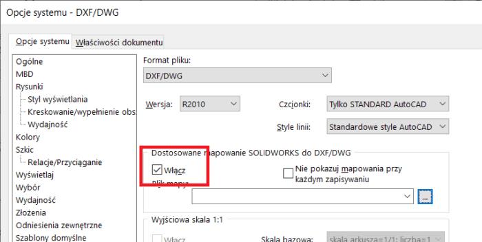 Arkusz Blachy SOLIDWORKS - mapowanie dxf