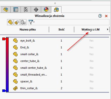 2 sposoby na wyświetlenie elementów wykluczonych z listy materiałów w SOLIDWORKS