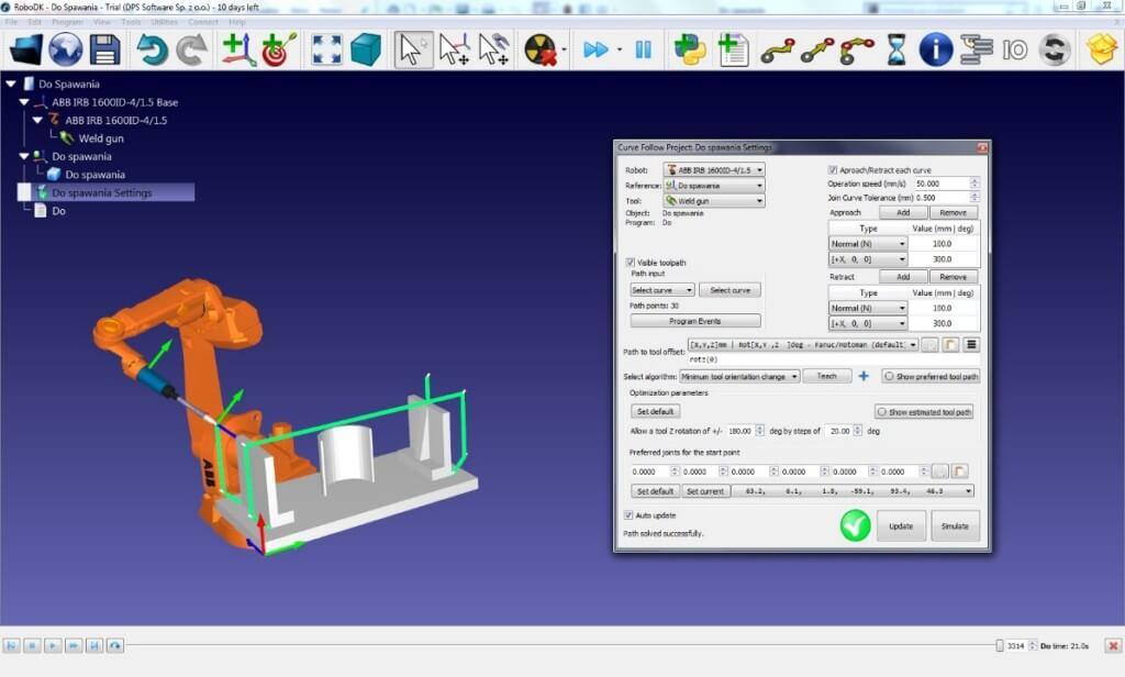 Zrzut ekranu z oprogramowania RoboDK