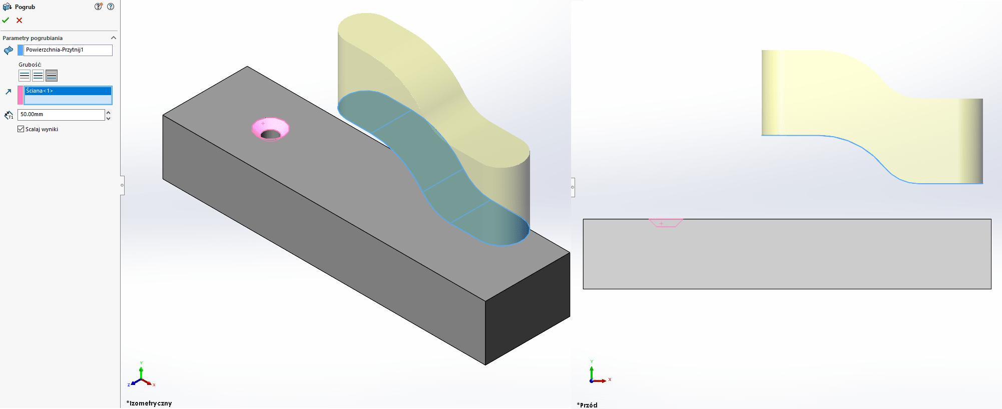 Jak pogrubić powierzchnię w określonym kierunku w SOLIDWORKS