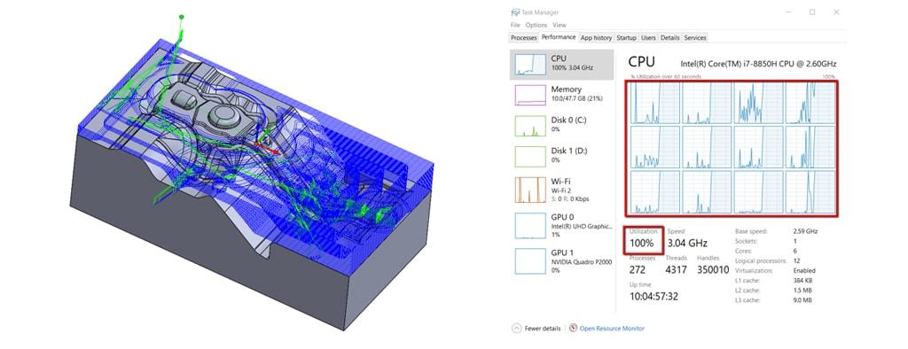 Nowości SOLIDCAM 2020 - Turbo 3D HSR – Wsparcie Wielordzeniowe